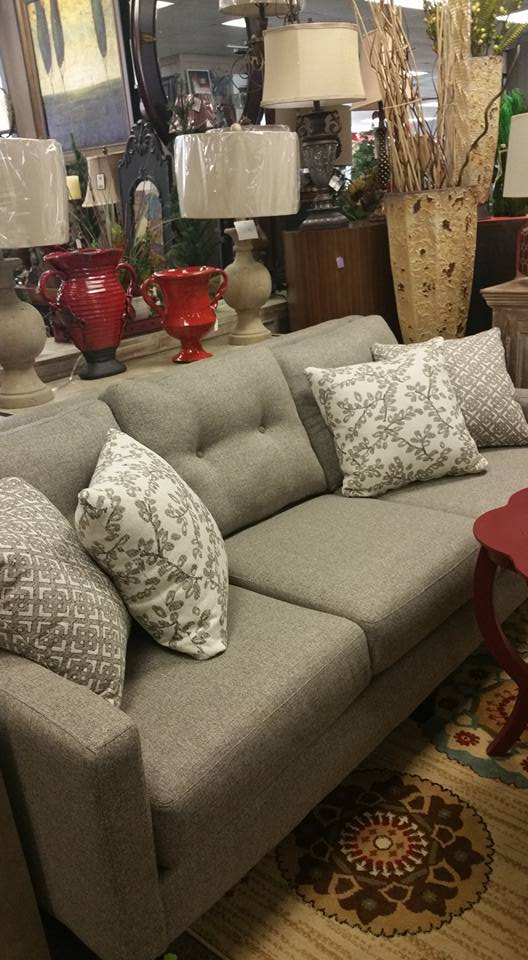 grey couch floral accent